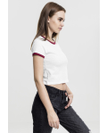 Ladies Cropped Ringer Tee white/burgundy