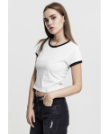 Ladies Cropped Ringer Tee wht/blk